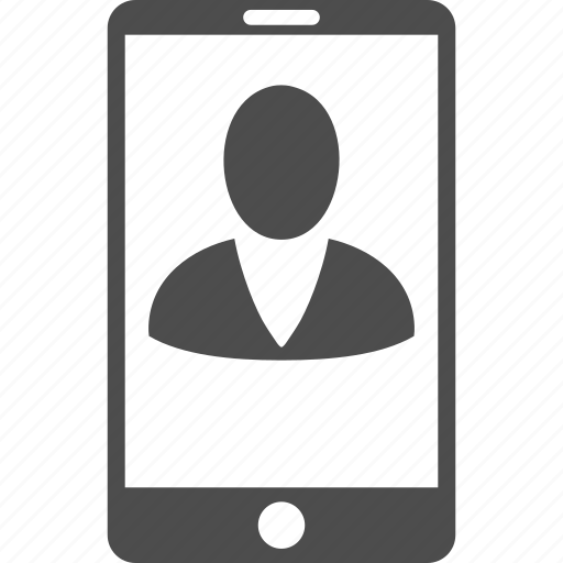 client profile, man, member, mobile phone, person, telephone, user account icon