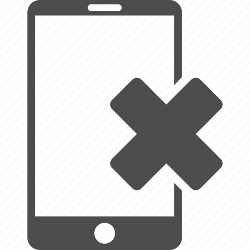 cell phone, cellphone, communication, connection, mobile device, negative, wrong smartphone icon