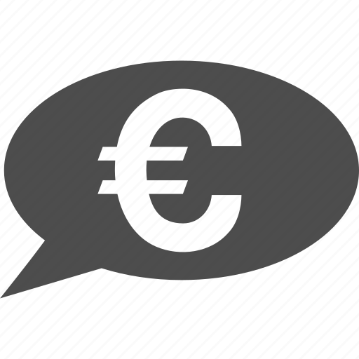 balloon, bank message, chat, communication, euro payment, finance, transaction icon