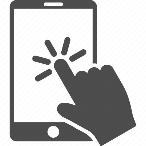cellphone, click, hand, mobile phone, pointer, smartphone, telephone icon