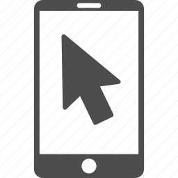 arrow, mobile, mouse pointer, point, smart phone, smartphone, telephone icon