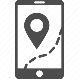 cell phone, gps navigator, location, mobile navigation, road, route map, way icon