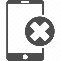 cancel, cell phone, cellphone, close, mobile device, negative, wrong smartphone icon