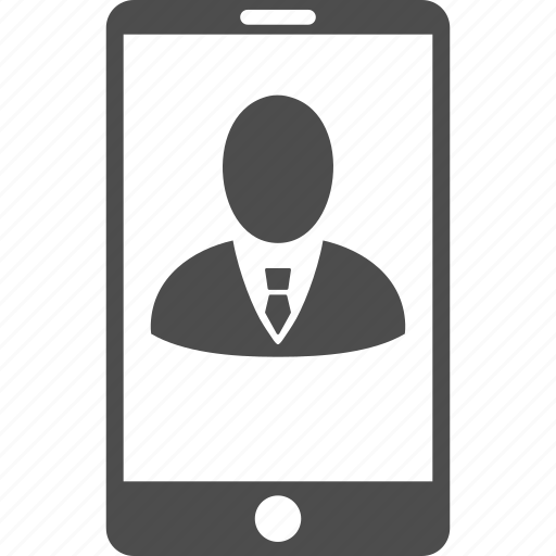 cell phone, client profile, customer, man, mobile device, person, smartphone icon