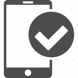 cell phone, mobile device, ok, select, smartphone, telephone, yes icon
