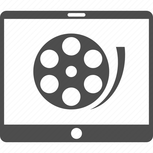 cell phone, film reel, media, mobile device, movie, play video, smartphone icon