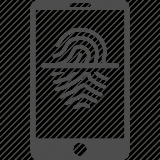 biometric identification, biometry, finger print, fingerprint scanner, identity, smartphone, telephone icon
