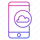 app, cloud, internet, mobile, network, servers, smartphone icon