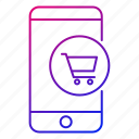 app, cart, mobile, phone, shopping cart, smartphone icon