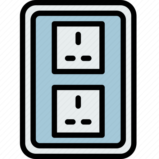 building, construction, double, socket, tool, uk, work icon