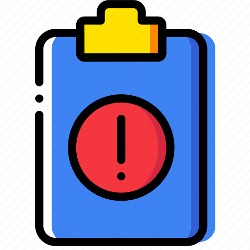 clipboard, document, file, folder, paper, warning icon