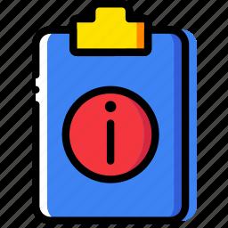 clipboard, document, file, folder, info, paper icon