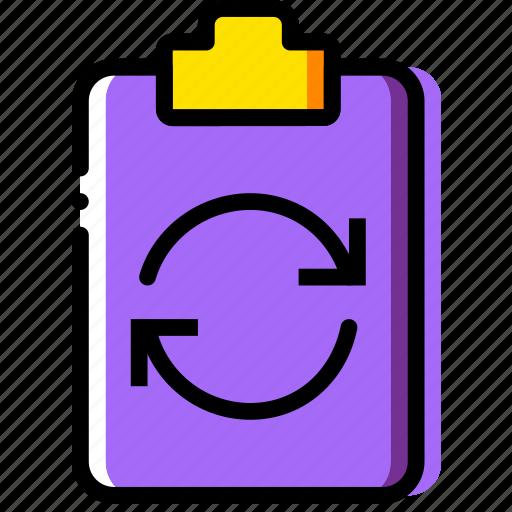 clipboard, document, file, folder, paper, sync icon