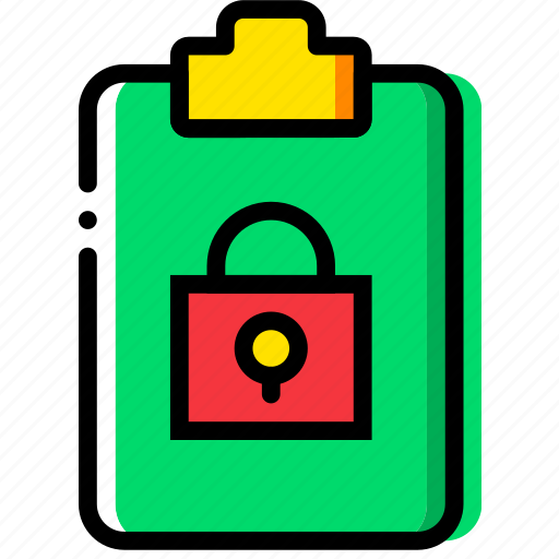 clipboard, document, file, folder, lock, paper icon