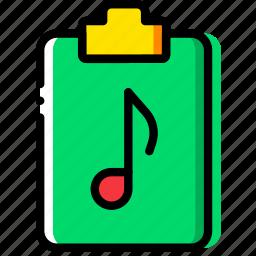 clipboard, document, file, folder, music, paper icon