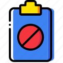 clipboard, document, file, folder, forbidden, paper icon