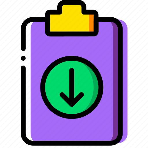 clipboard, document, download, file, folder, paper icon