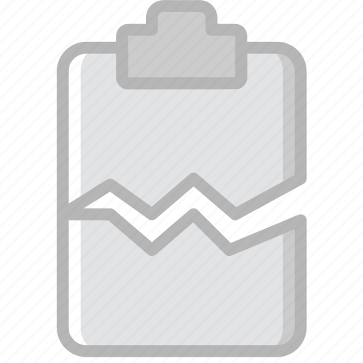 cracked, document, file, paper, write icon