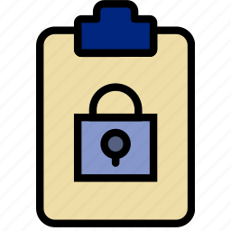 document, file, lock, note, paper, write icon