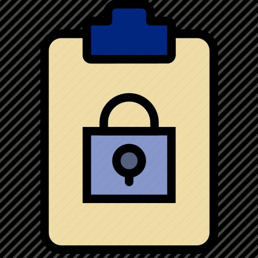 document, file, lock, note, paper, write icon
