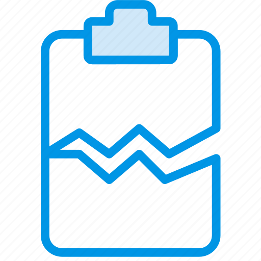 cracked, document, file, note, paper, write icon