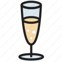 champagne, cooking, food, gastronomy, glass icon