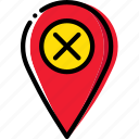 delete, location, map, navigation, pin icon