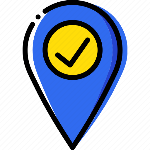 location, map, navigation, pin, success icon