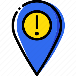 location, map, navigation, pin, warning icon