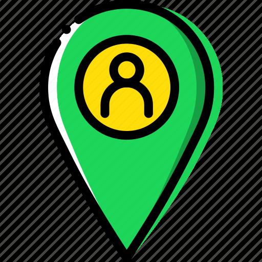 location, map, navigation, pin, profile icon