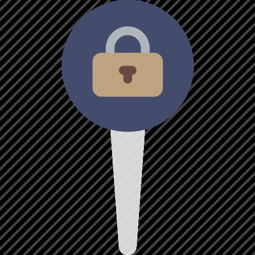 location, lock, map, marker, navigation, pin icon