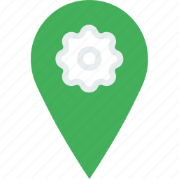location, map, marker, navigation, pin, settings icon