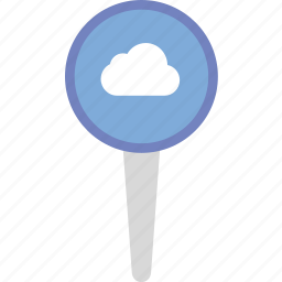 add, cloud, location, map, marker, navigation, pin, to icon