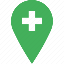 hospital, location, map, marker, navigation, pin icon