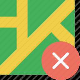 delete, location, map, marker, navigation, pin icon