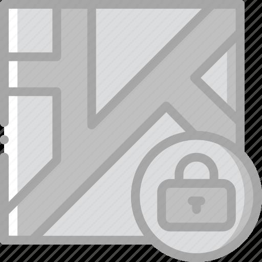 location, lock, map, navigation, pin icon