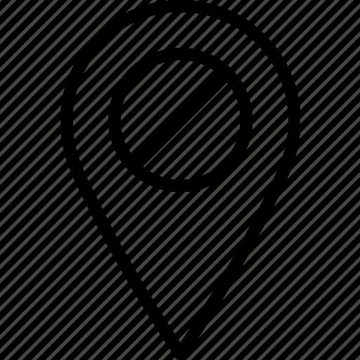 forbidden, location, map, marker, navigation, pin icon