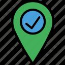 location, map, navigation, pin, success icon