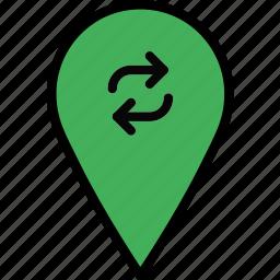 location, map, navigation, pin, refresh icon