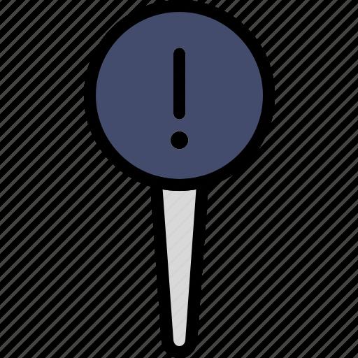 location, map, navigation, pin, warning icon
