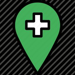 hospital, location, map, navigation, pin icon