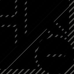 map, navigation, pin, substract icon
