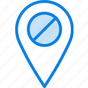 forbidden, location, map, navigation, pin icon