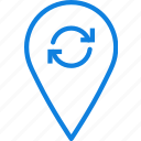 location, map, navigation, pin, sync icon