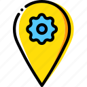 location, map, navigation, pin, settings icon
