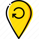 location, map, navigation, pin, refresh icon