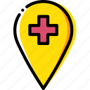 hospital, location, map, navigation, pin icon