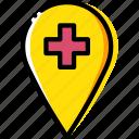 hospital, location, map, navigation, pin
