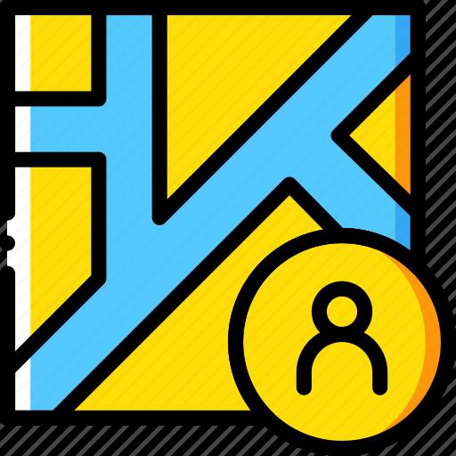 map, navigation, pin, profile icon
