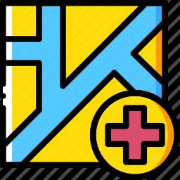 hospital, map, navigation, pin icon